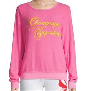 Wildfox Champagne Superhero Oversized Pullover